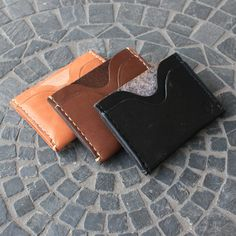 Triple Slot Slim Leather Wallet / Handcrafted / Handstitched / Made in America