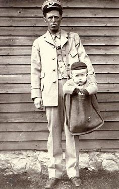 In 1900, this city letter carrier posed for a humorous photograph with a young boy in his mailbag. After parcel post service was introduced in 1913, at least two children were sent by the service.  Stamps were attached to their clothing, and the children rode with railway and city carriers to their destination. The Postmaster General quickly issued  regulations forbidding the sending of children via mail.