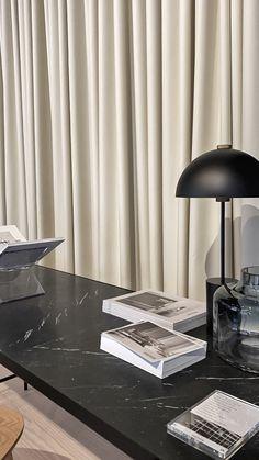Studio Lamp, Studio Table, Marble Desk, Globe Lights, Danish Design, Furniture Design, Table Lamp, Curtains, Lighting