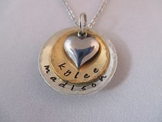Pewter And Bronze Heart Necklace