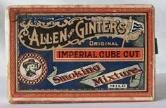ALLEN AND GINTER S IMPERIAL CUBE CUT SMOKING MIXTURE VINTAGE TOBACCO PACK