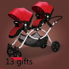 Luxury twin pram - multiple configurations ie) face together, both front facing, both rear facing, 2 bassinets, 2 kid seats, 1 bassinet and 1 kid seat. Front wheels turn 360 degrees. Push large white circle on side of seat to tilt forwards or back to make seat sit up or lie down. Both seats convert from seat to bassinet by undoing the buckle underneath the head and foot end and pushing fabric down. Folded up it measures 100cm long x 48cm high. $399 from Aliexpress