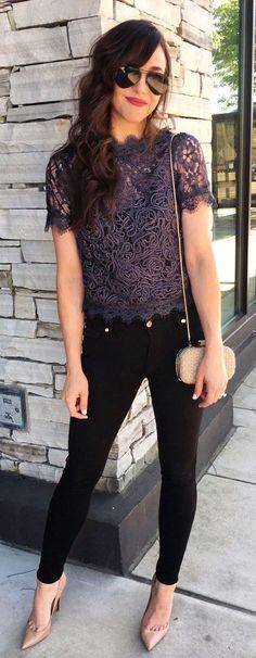 Pretty purple lace blouse with black jeans.