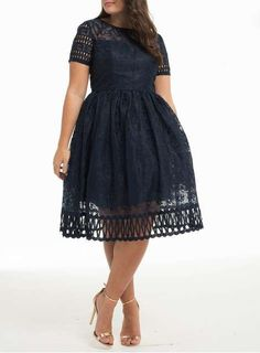 *Chi Chi London Curve Blue Laser Cut Midi Dress - Dorothy Perkins