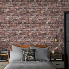 Turn your house into a home with Homebase. 🏠 Great deals on outdoor living ✓ Extensive outdoor living & DIY collections ✓ Homebase. Feels good to be home Red Brick Wallpaper Bedroom, Brick Wall Bedroom, Tile Wallpaper, Red Brick Walls, Brick And Wood, Interior Brick Walls, Urban Bedroom, Industrial Style Kitchen, Industrial Bedroom