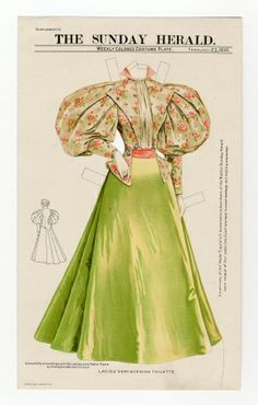 """America's Gilded Age - Costume Plate. A paper doll """"demi-evening"""" ladies dress. This image/cutout was featured in: The Sunday Herald - New York newspaper, February 23rd, c.1896. ~ {cwlyons} ~ (Original image via: The Strong Museum of Play)"""