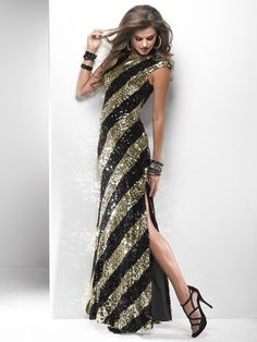 Black & Gold Striped Sequin Cap Sleeve Open Back Prom Dress - Unique Vintage - Cocktail, Pinup, Holiday & Prom Dresses.