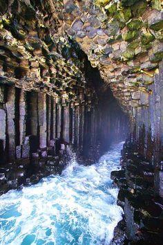 Fingal's Cave with the sea, Isle of Staffa, Scotland