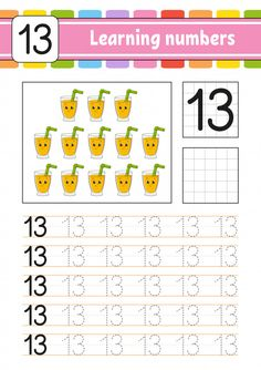 Number 13 Worksheet Preschool Learning Numbers for Kids Handwriting Practice Education Math Subtraction Worksheets, Preschool Number Worksheets, Handwriting Practice Worksheets, Learning Numbers, Tracing Worksheets, Preschool Activities, Preschool Alphabet, Alphabet Crafts, Alphabet Letters