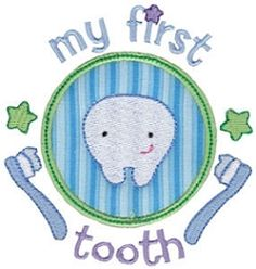 First Timer 1 Applique, First Tooth - 2 Sizes!   Baby   Machine Embroidery Designs   SWAKembroidery.com Bunnycup Embroidery