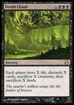 Each player loses X life, discards X cards, sacrifices X creatures, then sacrifices X lands.