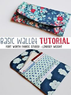 Basic Wallet Tutorial. This wallet includes: a small zipper pouch for change, 6 card holders, a cash/checkbook pocket, and a magnetic snap for the closure. Easy sewing project for any level.
