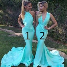 Unique Sexy Mermaid Blue Mismatched Different Styles Charming Inexpensive Long Wedding Party Dresses for Maid of Honor, WG97