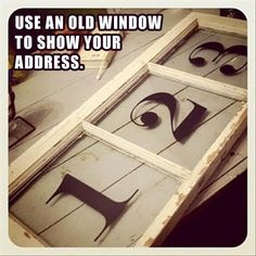 house address on old window. cool.