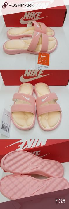 788e5937fd36 Shop Women s Nike Orange size 7 Sandals at a discounted price at Poshmark.  Description  NIKE Womens Nike Ultra Comfort Slide Bleached Coral Size Sold  by ...