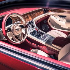 "Beautiful new 2018 Bentley Continental GT in Rubino Red with Linen and Hotspur leather and Koa wood veneer - Bentley Motors Official (@bentleymotors) on Instagram: ""Get up close with the new #ContinentalGT at Frankfurt #IAA2017. Pictured exterior in Rubino Red…"""