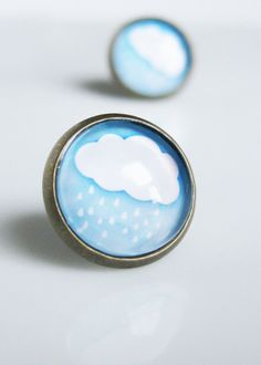 Blue Studs. Spring Showers Earrings. Weather by GoddessOfJewelry, $9.00