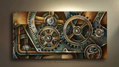 Mechanical Painting modern contemporary original art by MLangart,