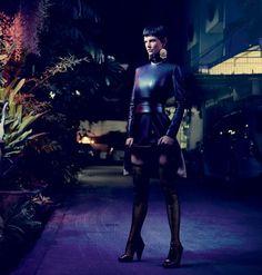 Saskia de Brauw for V Magazine - Calvin Klein Collection leather dress