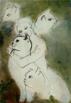 "Leonor Fini (1907-1996): ""Féline."" Fini adored cats and owned up to 17 at one time."