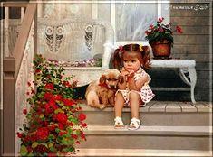 Анимация Сидящая на ступеньках девочка с собачкой, на фоне дома и горшка с цветами. На переднем плане куст красных цветов. Анимация З. Б