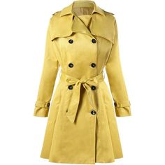 Double Breasted Tie Belt Trench Coat (2.265 RUB) ❤ liked on Polyvore featuring outerwear, coats, gamiss, double-breasted trench coats, double-breasted coat, belted coats, belted trench coat and beige coat