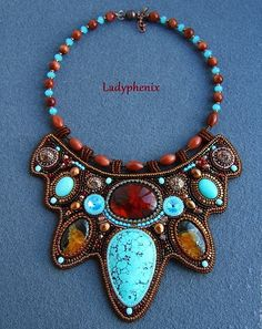 Beautiful embroidered jewelry by Ladyphenix (I) Click on link to see more photos - http://beadsmagic.com/?p=6745
