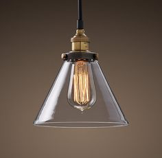 Clear Glass Funnel Filament Pendant Restoration Hardware
