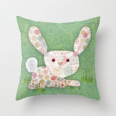 Bunny Rabbit Throw Pillow by Silva Ware by Walter Silva - $20.00