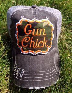 Chasing Elly Camo Gun Chick Trucker Hat with Bling!!