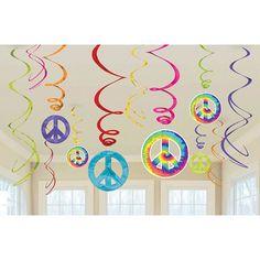 Feeling Groovy Swirl Decorations 12pc