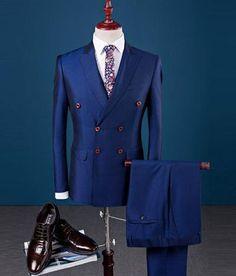2 Pieces White Double Breasted Solid Slim Fit Mens Suit Notch Lapel One Button Tuxedo Jacket Pants Set ( Blazer+Pant) New Mens Suits, Dress Suits For Men, Mens Fashion Suits, Men Dress, Men's Fashion, Waistcoat Men, Mens Suit Vest, Suit Men, Male Suit