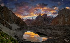 """Sunset Reflections - Sunset reflections in glacial lake - Concordia Trek, Pakistan  For more, please follow: <a href=""""https://www.facebook.com/MobeenMazharPhotography"""">Mobeen Mazhar's Photography</a>"""