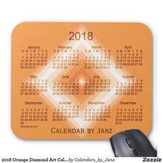 2018 Orange Diamond Art Calendar by Janz Mouse Pad