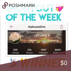 """CONGRATS TO @pbuzzalino! @pbuzzalino is this week's shoutout of the week winner! Please visit her closet and share the love! ❤️💖😊 go check out my """"Monday Shoutout Of The Week Contest"""" to know how to enter for next week! Other"""