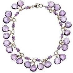 14K Yellow Gold and 36.00 Carats Amethyst Charm Bracelet