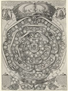 Gekroonde Tudor Rose met wapens, Jodocus Hondius (I), 1589
