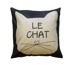 Le chat! Meow! Decorate up your cat lady chic abode with this purrfect pillow! New friends, coffee and cats. Visit DC's only Cat Cafe. 3211 O Street NW, Washington DC, 20007 #catcafe #cat #crumbsandwhiskers #DClife #DCliving #washingtonDC #caturday #Meows #Coffee #catladychic #catlady