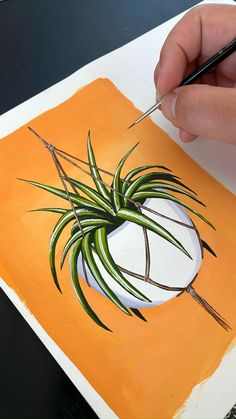Canvas Painting Tutorials, Diy Canvas Art, Painting Techniques, Art Floral, Gouche Painting, Watercolor Paintings, Orange Painting, Cactus Painting, Plant Painting