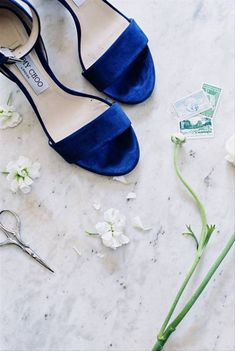 29 Blue Wedding Ideas Inspired by Pantones Color of the Year - blue wedding shoes for bride - suede heels  {Blue Ribbon Weddings}