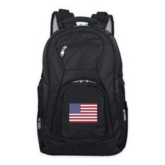 Safely store your laptop while on the go and show your school pride with the Mojo Premium Collegiate Backpack. Features 2 main compartments, 1 is padded to hold a laptop. Crafted of water resistant ballistic nylon. Laptop Backpack, Black Backpack, Travel Backpack, Bed Bath & Beyond, Vancouver Canucks, Indianapolis Colts, Nhl, Laptop Stand, Shoulder Pads