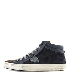 PHILIPPE MODEL | Sneaker MDHUXS03 BLUE/SILVER Men | Rossi&Co #philippemodel #sneaker #blu #gun #blue #grey #metallic #mens #fashion #kicks #style #styling #ootd #shoes #online #shop #outlet #sale #rossiundco