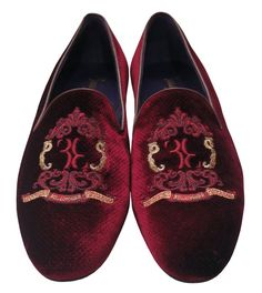 e368271d5e9 Billionaire Couture New Men s Maroon Suede Slip On Shoes with Logo  embroidery
