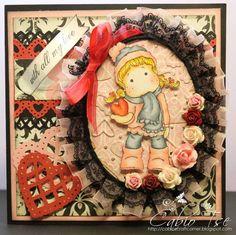 Magnolia Tilda with Snow Heart Christmas box Valentine's Day Love card