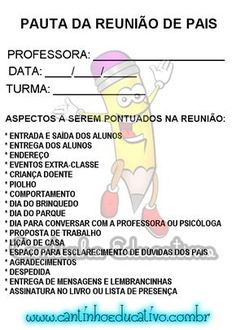 PAUTA PARA REUNIÃO DE PAIS