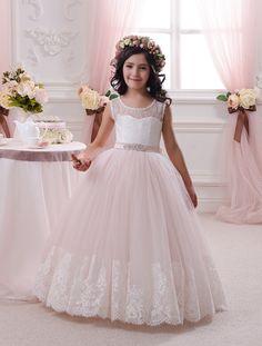 Elfenbein und erröten Rosa Blumen-Mädchen-Kleid - Geburtstag Hochzeit Partei-Feiertag Brautjungfer Blumenmädchen Elfenbein und erröten rosa