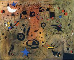 Dona de l'aixella rossa pentinant-se la cabellera a la lluor dels estels, 1940 - Joan Miró