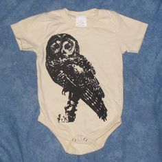 Baby Northern Spotted Owl Onesie - Large - Black on Off White Beige - cute hoot onsie nature bird animal cozy 12 18 months toddler infant. $10.00, via Etsy.