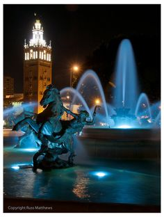 Plaza at night. Kansas City, MO I lived just down the street from this fountain in 1977.