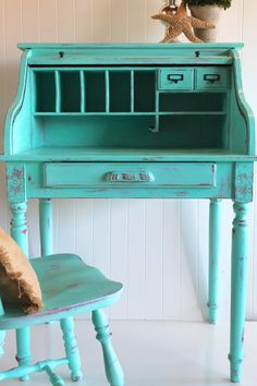 Reserved for Rachel: Robin's Egg Roll Top Desk with Chair
